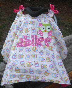 TOOO CUTE!!!Personalized Owl Carseat Shade. $40.00, via Etsy.