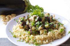 Quinoa met aubergine, knoflook & peterselie