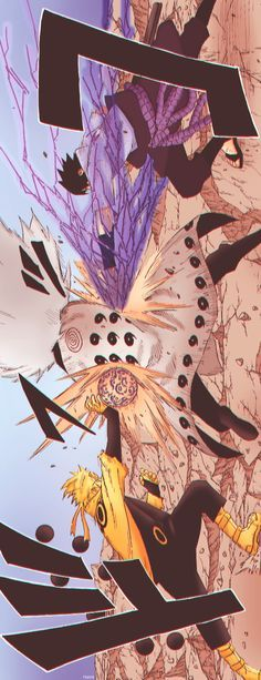 Naruto and Sasuke attack Madara with new power which they got from Sage of the Six Paths