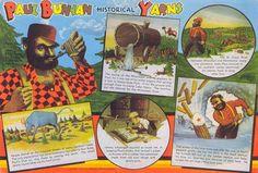 Paul Bunyan Legends On Postcards Paul Bunyan, Vintage Postcards, Lakes, Minnesota, Purpose, Legends, The Past, Plaid, Vintage Travel Postcards