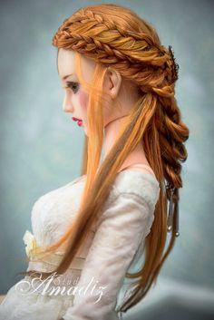 Elven bride natural angora wig for bjd SD MSD Tiny