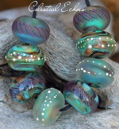 'Celestial Echoes' Rounds (8) Lampwork Beads Handmade with Fine Silver SRA A15 #ParadiseBeads #Lampwork | eBay ♥≻★≺♥