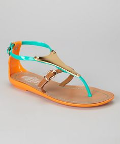 Take a look at this Green Jelly Sandal by Jacobies Footwear on #zulily today!