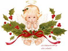 angelito navideño ruth Morehead Christmas Angels, Christmas Art, Vintage Christmas, Christmas Ornaments, Christmas Clipart, Christmas Printables, Christmas Pictures, Christmas Drawing, Christmas Illustration