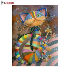 HUACAN DIY 5D Diamante Animale Mosaico Fatto A Mano Regalo di Compleanno Del Bambino Diamante Ricamo Punto Croce Colorata Modelli Gatto Strass