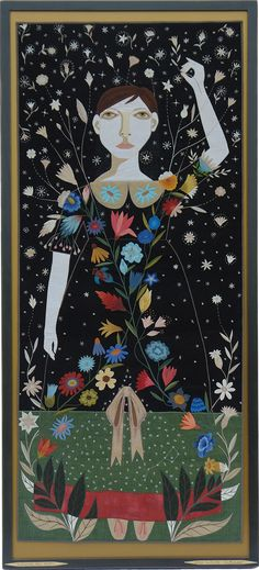 Flowers Are Stars. Original fabric applique by self taught artist Chris Roberts-Antieau. Drawing Painting Images, Chris Roberts, Textile Fiber Art, Fibre Art, Figure Painting, Graphic Illustration, Graphic Art, Lovers Art, Art Lessons