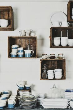5 creative kitchen storage ideas you can diy   Crates kitchen shelving. Image via The Design Chaser.