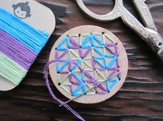 DIY Kids Craft Kit - Hand Embroidery Wood Brooch