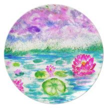 Lotus Pond Watercolor Dinner Plate