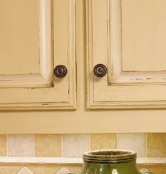 butter yellow and antique white - rustic, distressed look for kitchen cabinets (12Sp)