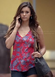 Elena's orange floral paisley tank top on The Vampire Diaries.  Outfit Details: http://wornontv.net/37599/ #TheVampireDiaries