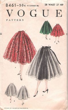 This is a vintage sewing pattern from Vogue, designed in 1954. The pattern makes a circle skirt for size 28 Waist. It is an unprinted, perforated