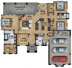 Plan 430034LY: Exclusive Split Bedroom Modern Hill Country House Plan