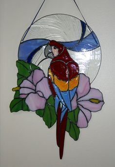 Beveled Stained Glass Parrot by Imakeglass on Etsy, $185.00