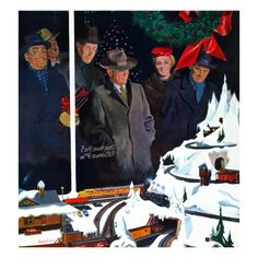 """Christmas Train Set"", December 15, 1956 Giclee Print by George Hughes at Art.com"
