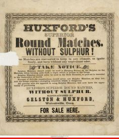 Huxford's superior round matches. Without sulphur! :: Connecticut History Online