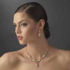 Gold Elegant Bridal Jewelry Set NE 8315