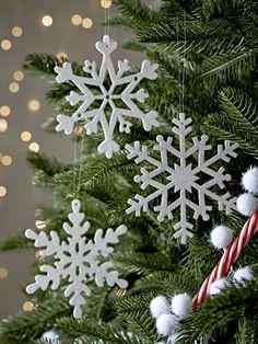 Six Snowflake Hanging Decorations