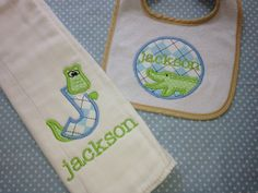 Cute Alligator bib and burp cloth with monogrammed name!