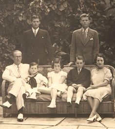 Standing:  Joe Kennedy Jr. and Jack Kennedy. Seated:  Joe Kennedy Sr., Teddy Kennedy, Jean Kennedy, Bobby Kennedy and Rose Kennedy.