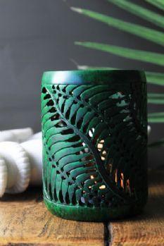 Hand Carved Leaf Green Soapstone Votive