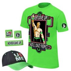 John Cena Kids Lime Green Neon Green Boys Costume T-shirt Hat Wristbands #Gildan