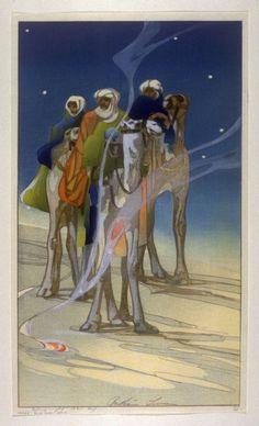 The Three Wise Men. Bertha Lum woodcut