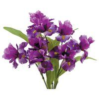 Purple Iris Bush with 8 Flowers for diy wedding bouquets and centerpieces.