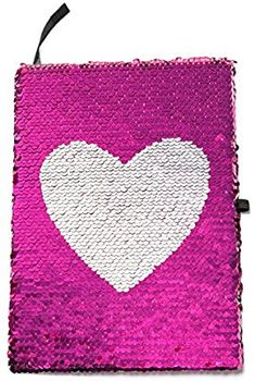 Amazon.com   Reversible Magic Sequin Notebook with True Heart Pattern -  Color-Changing Pink and Silver Flip Sequins - Lined A5 Paper - Perfect  Diary or ... 504247d05d77