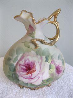 Hand Painted Nippon Porcelain Roses Vase Ewer