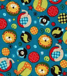 Nursery Fabric- Blue Circus Animal Dots & nursery fabric at Joann.com $7.99/yd
