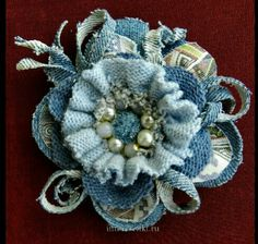 Denim Flowers, Burlap Flowers, Lace Flowers, Fabric Flowers, Fabric Brooch, Felt Fabric, Textile Jewelry, Fabric Jewelry, Brooches Handmade
