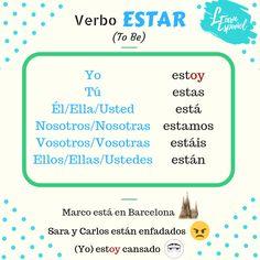 ‼Gramática LE‼  🇪🇸 Estar 🇬🇧 To be  #GramáticaLE #Idiomas #ELE #Languages #español #Verbo #welearnespanol #Spanish #Estar #ToBe #learningSpanish #Irregular Learn Espanol, Boarding Pass, Map, Travel, Irregular Verbs, Languages, Location Map, Viajes, Destinations