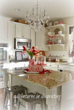 Adventures in Decorating: A Little More Valentine Decorating - aside from the theme décor, such a cute kitchen and home!
