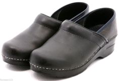 Dansko  Black Leather Mary Jane Nurse Loafers Clogs Shoes Womens 6.5 / 37