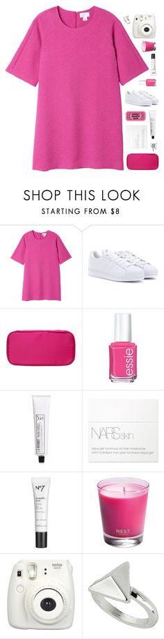 """""""The devil wear Prada"""" by marysilvs1 ❤ liked on Polyvore featuring Monki, adidas, Essie, L:A Bruket, NARS Cosmetics, Nest, Fujifilm, Topshop, white and Pink"""