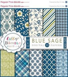 50% off Blue Sage floral digital papers for by LillyBimble on Etsy