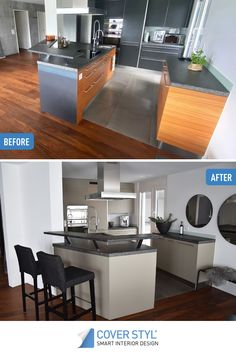 Dreaming of a new kitchen? No need to spend a lot of money to replace your kitchen furniture! You can get your dream kitchen merely by covering your existing kitchen with Cover Styl' adhesive coverings! This kitchen has been transformed by roomcover, installer of Cover Styl' adhesive coverings in Switzerland. Kitchen Renovations, Adhesive Vinyl, Kitchen Furniture, New Kitchen, Switzerland, Money, Interior Design, Home Decor, Room Interior Design