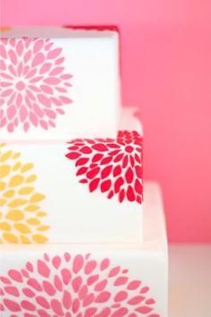 Fuchsia pink and yellow flower wedding cake Eat Cake Be Merry