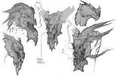 Abaddon Monster Concept Art, Game Concept Art, Monster Art, Creature Concept Art, Creature Design, Character Design References, Character Art, Dinosaur Sketch, Dragon Artwork