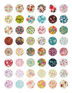 Floral Patterns round Digital Collage Sheet bottle by Decoupage, Bottle Cap Images, Bottle Caps, Circle Art, Wine Charms, Resin Pendant, Collage Sheet, Hang Tags, Digital Collage