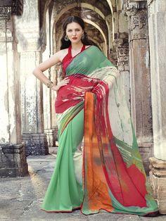 Green & red georgette printed saree
