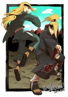 Deidara and his younger self Sasunaru, Sasori And Deidara, Deidara Akatsuki, Shikamaru, Narusasu, Naruto Kakashi, Anime Naruto, Naruto Shippuden, Boruto