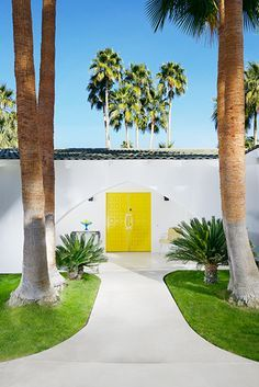 Palm Springs. Yellow Door. Home. Exterior. House. Design. Color.