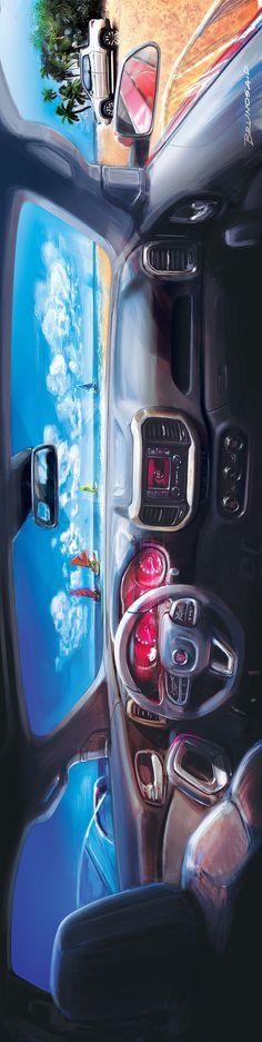 조수석에서 본 차량 내부 파노라마 스케치입니다 인테리어 이미지는 항상 운전석에서 본건들 뿐인데 이 이미지는 특이하게 조수석에서 본 모습입니다