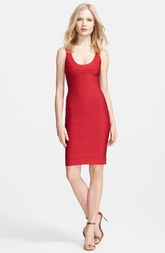 """Herve Leger U-Neck Bandage Dress available at #Nordstrom. PEOPLE, THE COLOR IS """"LIPSTICK."""" WHAT'S NOT TO LOVE?!?"""