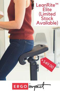 The LeanRite™ Elite by Ergo Impact for Those Standing Desks Standing Desk Chair, Standing Desks, Chair Design, Furniture Design, Sit Stand Desk, Desk Office, Ergonomic Chair, Health Benefits