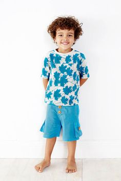 Designer boy clothing - Baobab Maple Pocket Tee - $39.95 - Delightful Spring tee for your little boy!  Short sleeve loose fitting tee in a fun torquoise maple leaf print! Made from 100% cotton knit fabric and finished with a rounded front pocket. Designer boy clothing - Baobab #Christmas