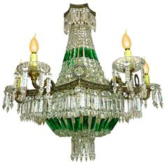 For Sale on - Stunning Monumental French Regency Empire emerald green cut crystal beads and swags, basket shaped and bronze chandelier with 15 light Measures: Diameter French Empire Chandelier, Bronze Chandelier, Antique Chandelier, Chandelier Pendant Lights, Green Chandeliers, Elegant Chandeliers, Amber Crystal, Crystal Beads, Glass Beads
