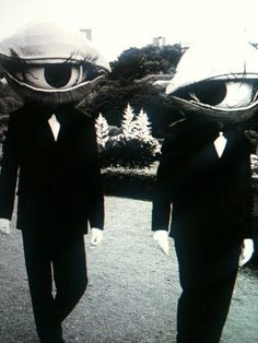 Eye head masks. Old creepy vintage picture